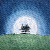 Картины и панно ручной работы. Ярмарка Мастеров - ручная работа Полночь. Акварельный пейзаж. Handmade.
