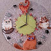 """Для дома и интерьера ручной работы. Ярмарка Мастеров - ручная работа Часы """"Кошки-мышки"""" фьюзинг. Handmade."""