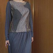 Одежда ручной работы. Ярмарка Мастеров - ручная работа Платье трикотажное Арт.В02 длинное с шерстяным лифом серое. Handmade.