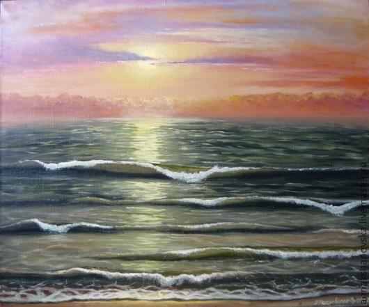 """Пейзаж ручной работы. Ярмарка Мастеров - ручная работа. Купить Картина """"Море. Закат"""". Handmade. Картина, лето, пейзаж"""