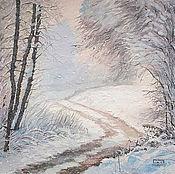 Картины и панно ручной работы. Ярмарка Мастеров - ручная работа картина Зимняя дорога в сказку (зимний пейзаж, сиреневый, голубой). Handmade.