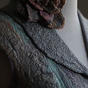 """Одежда ручной работы. Ярмарка Мастеров - ручная работа Жилет из шелка и шерсти """"Blue Stone"""" c cумочкой. Handmade."""