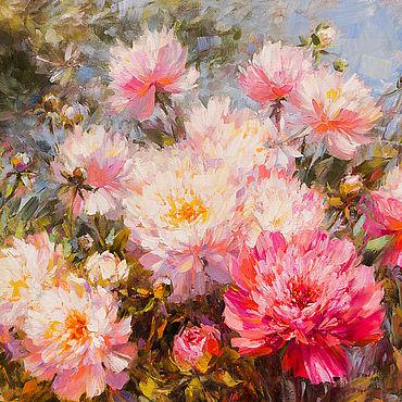 Картины и панно. Ярмарка Мастеров - ручная работа Картины: Розовые пионы. Handmade.