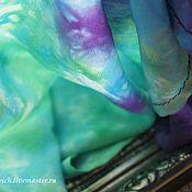 Аксессуары ручной работы. Ярмарка Мастеров - ручная работа Шарф батик шелк Грозовая туча весной. Шелковый шарф. Зеленый фиолет. Handmade.