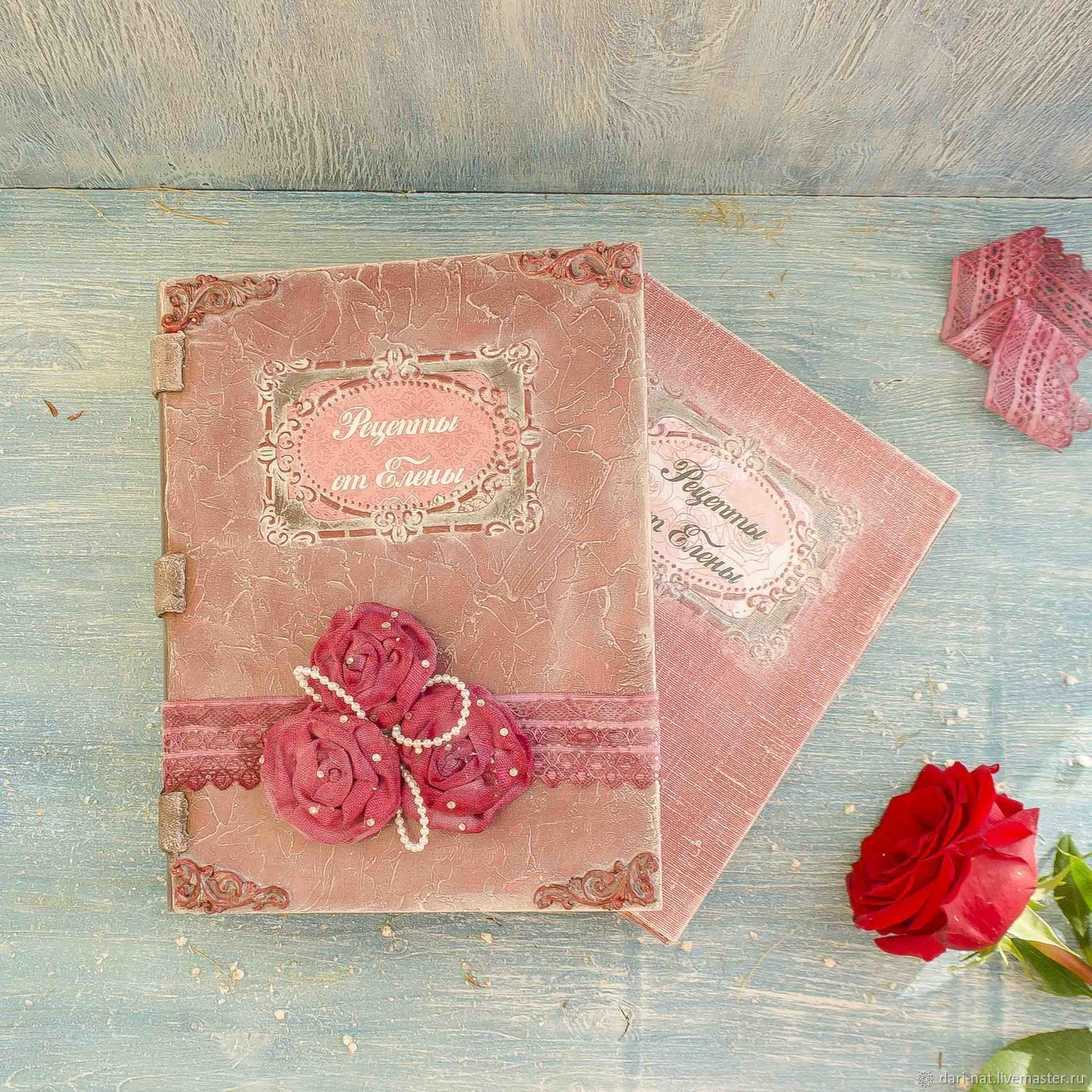 Cooking box and the book for recipes double Burgundy rose, Recipe books, Tyumen,  Фото №1