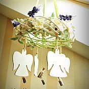 """Для дома и интерьера ручной работы. Ярмарка Мастеров - ручная работа веночек подвесной """"Танец ангелов в лавандовой долине"""". Handmade."""