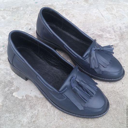 Обувь ручной работы. Ярмарка Мастеров - ручная работа. Купить Женские лоферы Anna Chaqrua. Handmade. Тёмно-синий