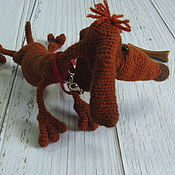 Подарки к праздникам handmade. Livemaster - original item Toy small dog Dachshund brown knit interior. Handmade.
