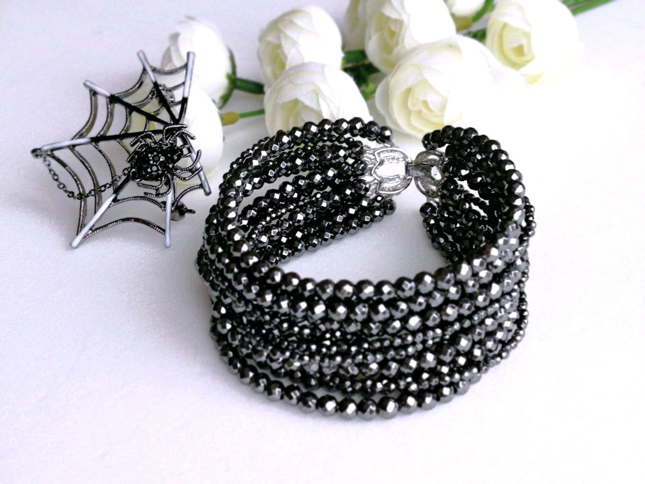 Bracelet made from natural hematite 'Web of passion', Bead bracelet, Tolyatti,  Фото №1