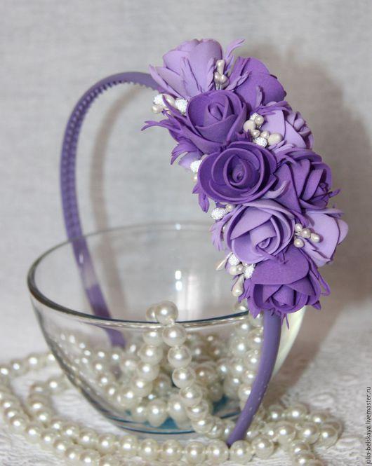 Обруч с цветами ручной работы из фоамирана, сделано с любовью! Юлия Бельская