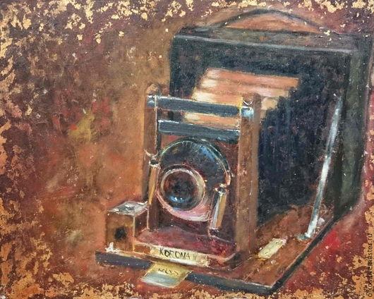 Натюрморт ручной работы. Ярмарка Мастеров - ручная работа. Купить Взгляд сквозь время - картина маслом - ретрофотоаппарат. Handmade. Разноцветный
