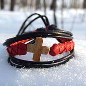 Украшения handmade. Livemaster - original item Leather braided bracelet Cross. Handmade.