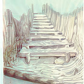 """Картины и панно ручной работы. Ярмарка Мастеров - ручная работа акварель """"Лестница в небо"""". Handmade."""