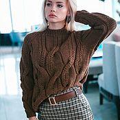 Материалы для творчества handmade. Livemaster - original item Schemes for knitting: Description of knitting on a sweater in braids with pigtails. Handmade.