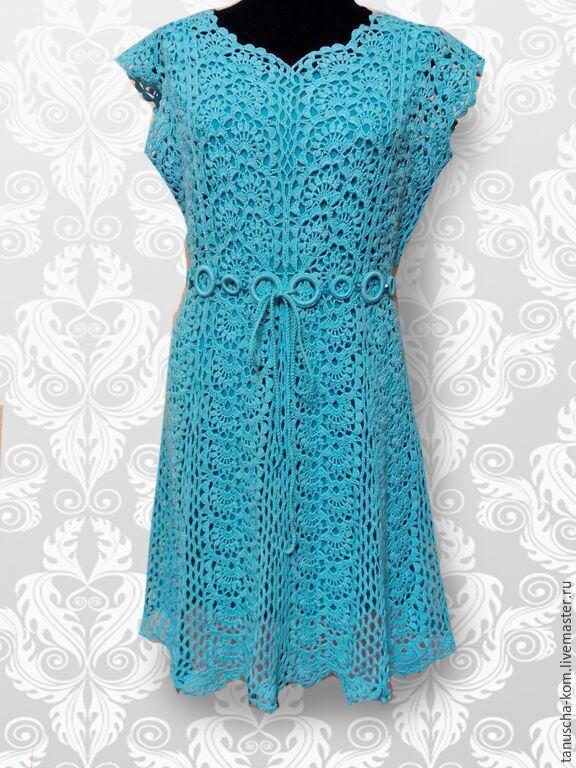 Женские платья крючком из ленточного кружева