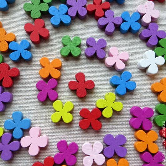 Бусины деревянные цветы