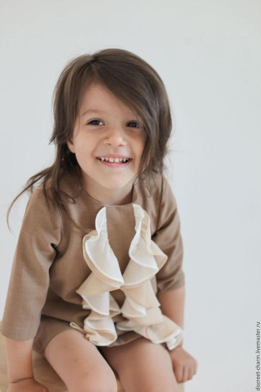 Одежда для девочек, ручной работы. Ярмарка Мастеров - ручная работа. Купить Бежевое детское нарядное платье с воланами из шифона, шерстяное. Handmade.