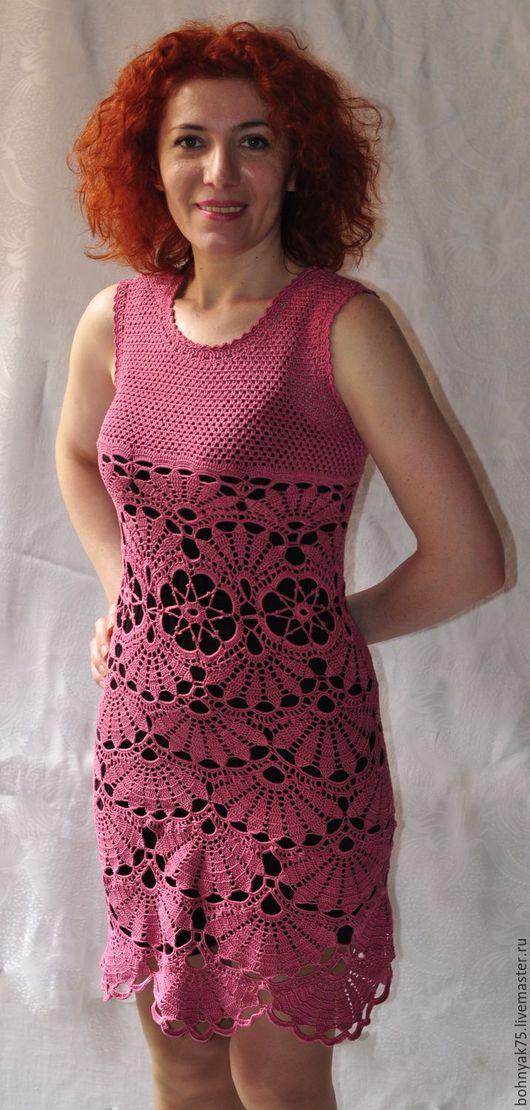 Платья ручной работы. Ярмарка Мастеров - ручная работа. Купить Платье крючком. Handmade. Розовый, ажурное платье
