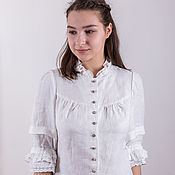 Одежда handmade. Livemaster - original item White linen blouse with buttons. Handmade.