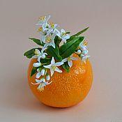 Вазы ручной работы. Ярмарка Мастеров - ручная работа Керамика вазочка Апельсинка в цвету. Handmade.
