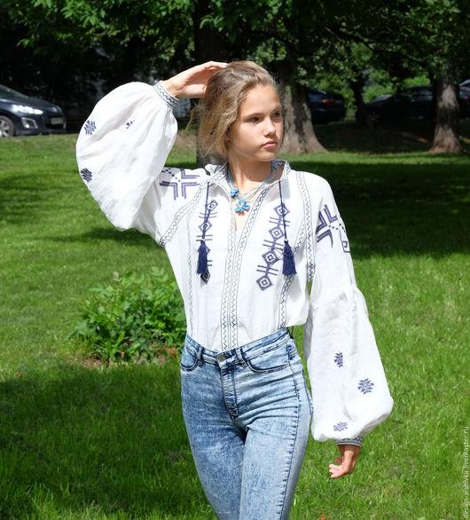 Блузки ручной работы. Ярмарка Мастеров - ручная работа. Купить Рубашка женская льняная. Handmade. Рубашка женская, вышивка крестиком