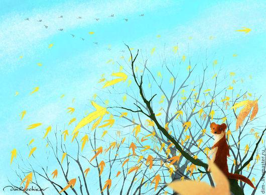 """Животные ручной работы. Ярмарка Мастеров - ручная работа. Купить """"Октябрь, конец месяца""""  авторский принт. Handmade. Авторский принт"""