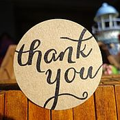 Материалы для творчества ручной работы. Ярмарка Мастеров - ручная работа Крафт наклейки Thank you. Handmade.