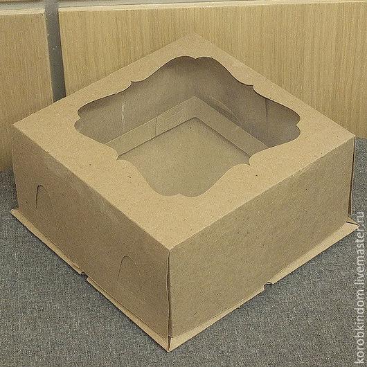 Упаковка ручной работы. Ярмарка Мастеров - ручная работа. Купить Коробка 21х21х10 крышка-дно с окном для торта крафт коричневая. Handmade.
