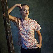 Одежда ручной работы. Ярмарка Мастеров - ручная работа Шелковые Цветы (блузка). Handmade.