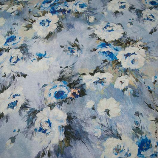 Шитье ручной работы. Ярмарка Мастеров - ручная работа. Купить Джерси (цветочная акварель в синих тонах) (004885). Handmade. Ткань