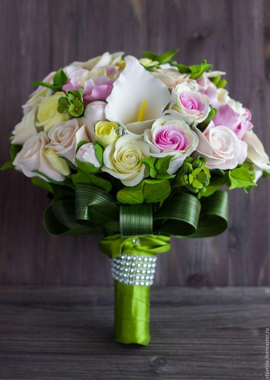Свадебные цветы ручной работы. Ярмарка Мастеров - ручная работа. Купить Букет невесты.. Handmade. Розовый, пионы, свадебные аксессуары