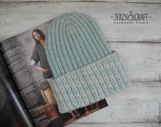 Шапка вязаная спицами бини  шапка тонкая шапка вязанная шапка весенняя шапка осенняя шапочка шелк шапочка вязаная спицами шапочка вязанная шапочка легкая шапка меринос шапка легкая шелк шапка бини