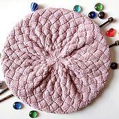 Аксессуары handmade. Livemaster - original item Knitted beret (hat) with a fur POM-POM color dusty rose. Handmade.