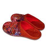 """Обувь ручной работы. Ярмарка Мастеров - ручная работа Тапочки валяные """"Коралловый бриз"""" шерсть шелк. Handmade."""