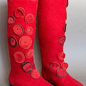 """Обувь ручной работы. Ярмарка Мастеров - ручная работа Войлочные сапоги """"Красные маки"""". Handmade."""