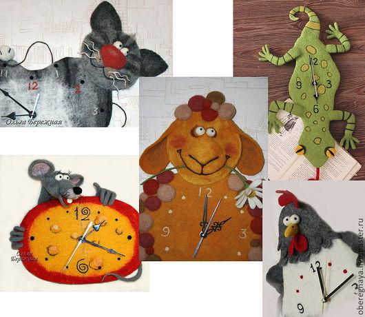 """Часы для дома ручной работы. Ярмарка Мастеров - ручная работа. Купить Часы """"Зверьё моё"""". Handmade. Курица из шерсти, кот"""