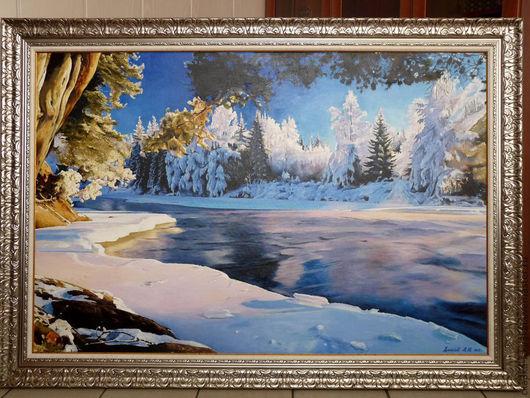 """картина Зимний пейзаж """"Лёд тронулся"""" Картина выполнена на холсте размером 100х150  масляными красками. можно заказать любой размер картины, ручная работа - холст, масло."""