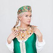 Tiaras handmade. Livemaster - original item The headdress with precious stones and rich embroidery Ladushka. Handmade.
