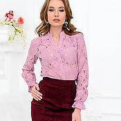 Одежда ручной работы. Ярмарка Мастеров - ручная работа Блуза с планкой из кружева цвета пыльной розы. Handmade.