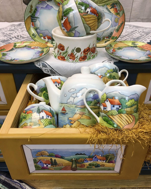 Painted porcelain. Tea set ' Great journey', Tea & Coffee Sets, Kaluga,  Фото №1