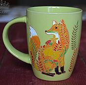 Посуда ручной работы. Ярмарка Мастеров - ручная работа Кружка с лисой, осення лисичка, лиса. Handmade.