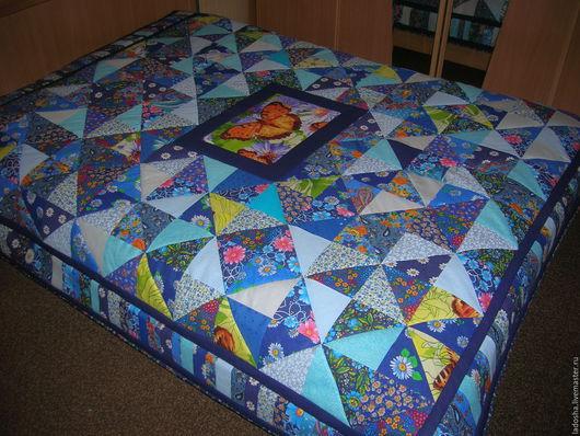 Текстиль, ковры ручной работы. Ярмарка Мастеров - ручная работа. Купить лоскутное покрывало Бабочка. Handmade. Синий, лоскутная техника