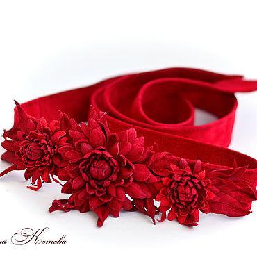 Аксессуары ручной работы. Ярмарка Мастеров - ручная работа Пояс кушак из замши Красные цветы из кожи женский. Handmade.