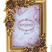 Сувениры и подарки ручной работы. Ярмарка Мастеров - ручная работа Рамка для фото в винтажном стиле Золотые Листья. Handmade.