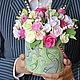 Интерьерные композиции ручной работы. Ярмарка Мастеров - ручная работа. Купить Цветы в шляпной коробке 27 см (полимерная глина). Handmade.