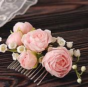 Украшения ручной работы. Ярмарка Мастеров - ручная работа Гребень с розами и ландышами. Handmade.