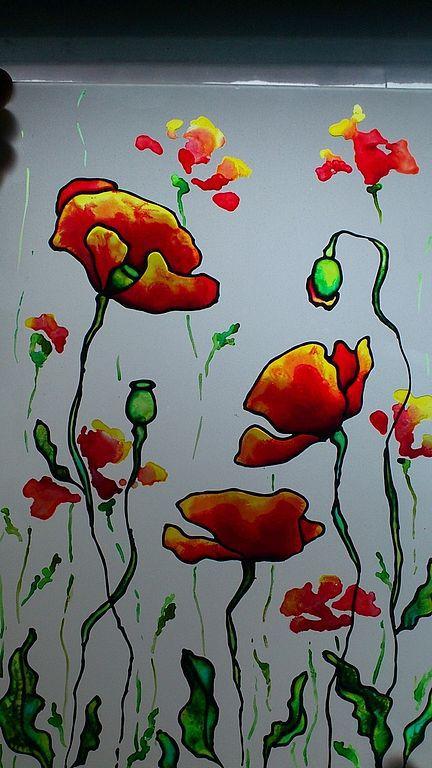 """Картины цветов ручной работы. Ярмарка Мастеров - ручная работа. Купить Роспись по стеклу """"Огненые маки"""". Handmade. Маки, цветы"""