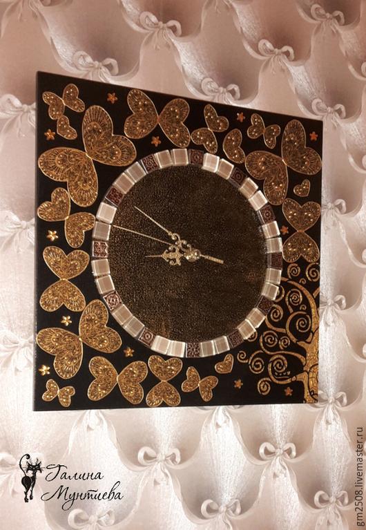 """Часы для дома ручной работы. Ярмарка Мастеров - ручная работа. Купить Часы настенные  """"Des papillons"""".. Handmade. Золотой"""