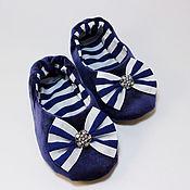 """Тапочки ручной работы. Ярмарка Мастеров - ручная работа Детские домашние тапочки """"Морячка"""", домашняя обувь. Handmade."""