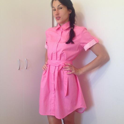 """Платья ручной работы. Ярмарка Мастеров - ручная работа. Купить Платье-рубашка""""Pink"""". Handmade. Платье, повседневное платье, в горошек"""